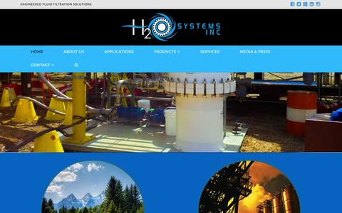 Screenshot of Home Page h2osystems.ca - H2O Systems Inc | Engineered fluid filtration solutions - captured Jan. 23, 2016
