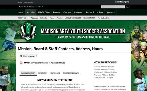 Screenshot of About Page maysa.org - Mission, Board & Staff Contacts, Address, Hours - captured April 13, 2017