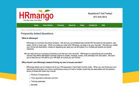 Screenshot of FAQ Page hrmango.com - Frequently Asked Questions : HR Mango, Human Resources | Human Resources Management | HR Human Resources - captured Dec. 6, 2015