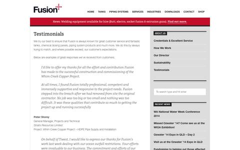 Screenshot of Testimonials Page fusionaus.com - Testimonials: exceeding our customer's expectations - Fusion - captured Oct. 6, 2014