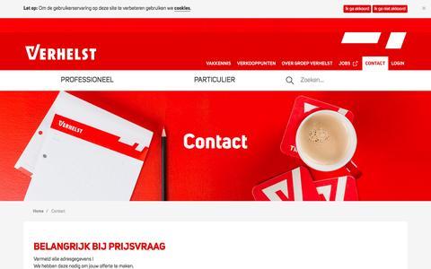 Screenshot of Contact Page verhelst.be - Contact -  Groep Verhelst - captured Oct. 19, 2016