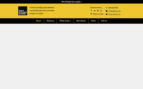 Screenshot of Home Page rkh.co.uk - Rock Kitchen Harris, Leicester - Advertising, Design, Public Relations, Web Design - captured July 13, 2019