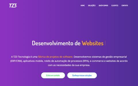 Screenshot of Home Page tz3.com.br - TZ3 Tecnologia | Sistemas, apps, robôs de automação, websites e e-commerce sob medida para o seu negócio - captured Nov. 1, 2018