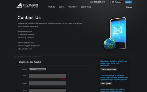 Screenshot of Support Page spotlighthometours.com - Contact Spotlight Home Tours - captured Sept. 19, 2014