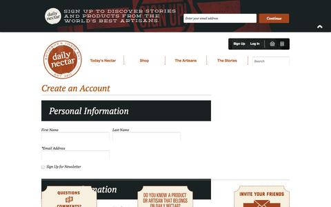 Screenshot of Signup Page dailynectar.com - Create New Customer Account - captured Sept. 30, 2014