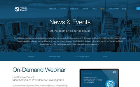 Screenshot of Press Page veriskhealth.com - Healthcare Analytics News and Events - captured Dec. 8, 2015