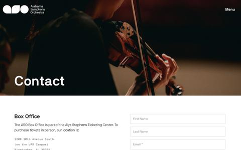 Screenshot of Contact Page alabamasymphony.org - Contact | Alabama Symphony Orchestra - captured Oct. 3, 2018