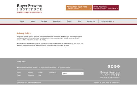 Screenshot of Privacy Page buyerpersona.com - Privacy Policy - captured Oct. 11, 2017