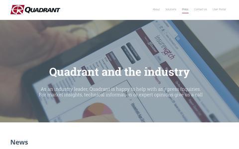Screenshot of Press Page quadinfo.com - Quadrant in the news | Press - captured Oct. 2, 2014