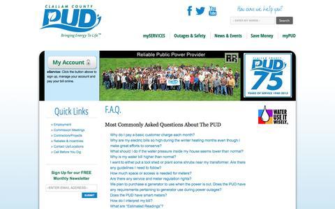 Screenshot of FAQ Page clallampud.net - F.A.Q. | Clallam County PUD - captured Oct. 17, 2016