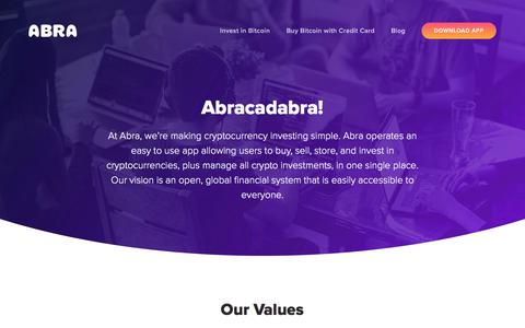 Screenshot of About Page abra.com - About Abra - Cryptocurrency Investing. Simplified - captured Nov. 15, 2019