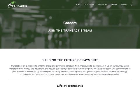 Screenshot of Jobs Page transactis.com - Careers - Transactis - Integrated Electronic Billing & Payments - captured March 13, 2019