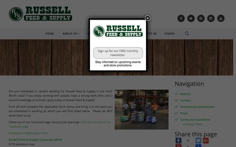 Screenshot of Jobs Page russellfeedandsupply.com - Careers :: Russell Feed & Supply - captured Sept. 21, 2018