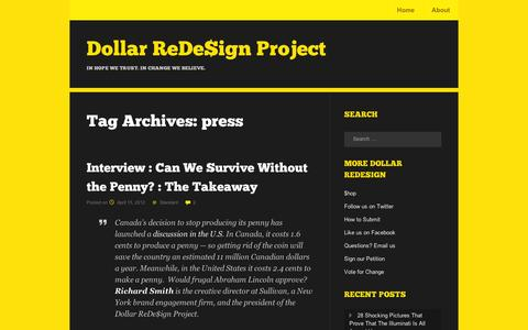 Screenshot of Press Page wordpress.com - press | Dollar ReDe$ign Project - captured Sept. 12, 2014