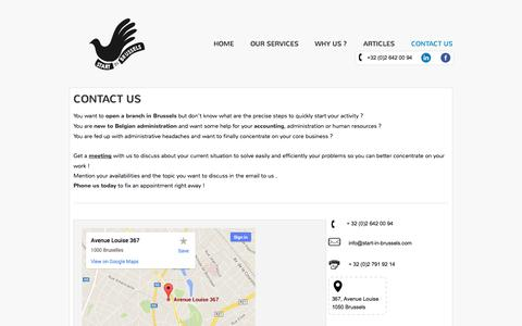Screenshot of Contact Page start-in-brussels.com - Contact Us - Start in Brussels - captured Oct. 9, 2014