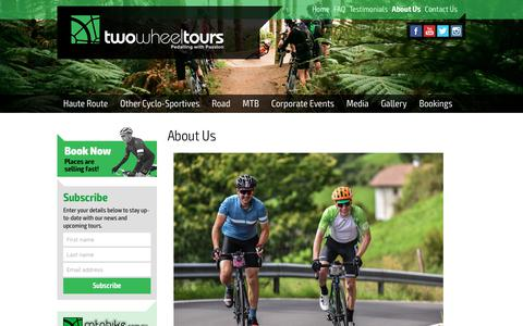 Screenshot of About Page twowheeltours.com.au - About Us: Find out how we got started - captured Sept. 20, 2018