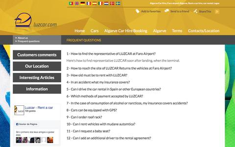 Screenshot of FAQ Page luzcar.com - Frequently Asked Questions - Algarve Car Hire   Faro Airport Lagos Rent a Car Rental, Hire Algarve   LUZCAR - captured May 13, 2017