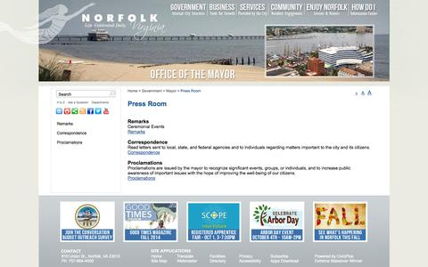 Screenshot of Press Page norfolk.gov - City of Norfolk, Virginia - Official Website - Press Room - captured Sept. 25, 2014