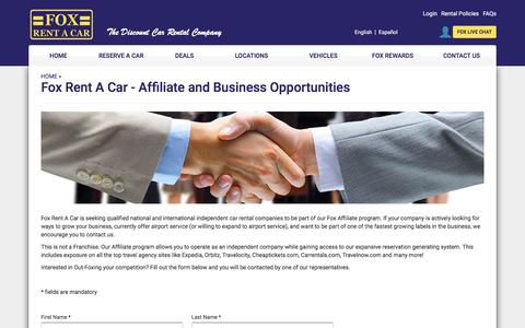 Fox Rent A Car - Affiliate and Business Opportunities