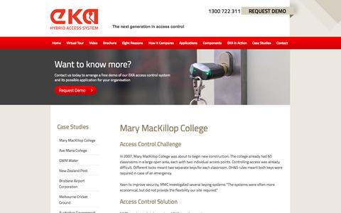 Screenshot of Case Studies Page ekasecurity.com.au - Mary MacKillop College - EKA - captured Oct. 1, 2014