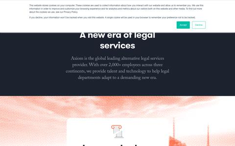 Screenshot of About Page axiomlaw.com - Changing the legal industry for the better | Axiom - captured July 11, 2019