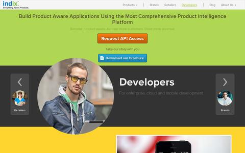 Screenshot of Developers Page indix.com - Indix | Offers and Catalog APIs for Developers - captured July 20, 2014