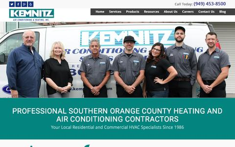 Screenshot of Home Page kemnitzhvac.com - Orange County Heating and Air Conditioning Repair Service - captured Sept. 30, 2016