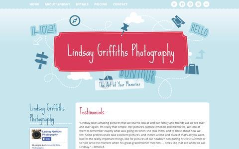 Screenshot of Testimonials Page wordpress.com - Testimonials | Lindsay Griffiths Photography - captured Sept. 12, 2014