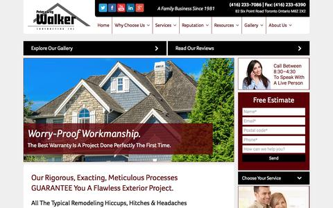 Screenshot of Home Page Terms Page walkercontracting.ca - Roofing and Chimney Repair Service Toronto | Walker Contracting - captured Nov. 5, 2016
