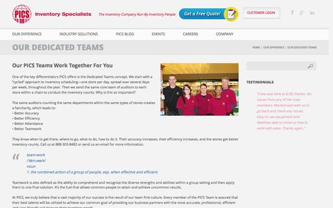 Screenshot of Team Page picsinv.com - Our Dedicated Teams | PICS Inventory Specialists - captured Oct. 1, 2014