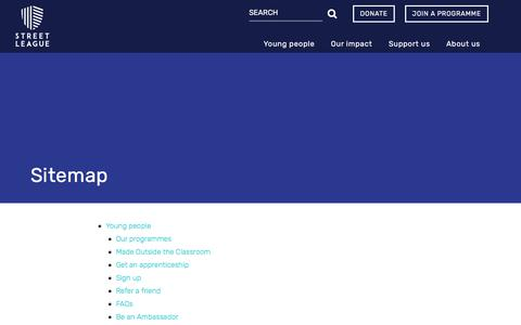 Screenshot of Site Map Page streetleague.co.uk captured Nov. 9, 2017