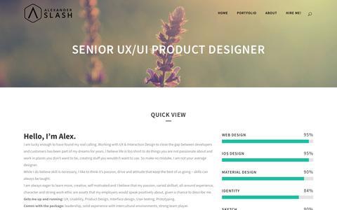 Screenshot of About Page alexanderslash.com - Senior UX/UI Product Designer - Senior UX/UI Product Designer - captured Oct. 9, 2017