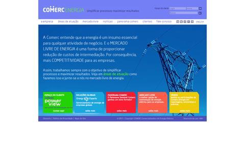 Screenshot of Home Page comerc.com.br - Gestão de energia elétrica para o consumidor livre - COMERC - captured Oct. 2, 2014