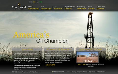 Screenshot of Home Page clr.com - Continental Resources   America's Oil Champion - captured Feb. 11, 2016