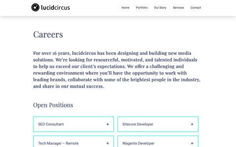 Screenshot of Jobs Page lucidcircus.com - Careers Archive | lucidcircus - captured Nov. 5, 2018
