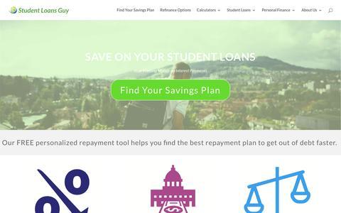 Screenshot of Home Page studentloansguy.com - Save on Student Loans - Student Loans Guy - captured July 8, 2018