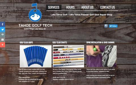 Screenshot of Services Page tahoegolftech.com - Lake Tahoe Golf | Golf Club Repair Shop | Serving Incline Village, Truckee, Lake Tahoe - captured Dec. 6, 2016