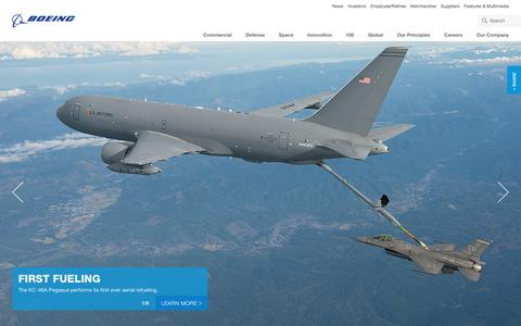 Screenshot of Home Page boeing.com - Boeing: The Boeing Company - captured Jan. 26, 2016