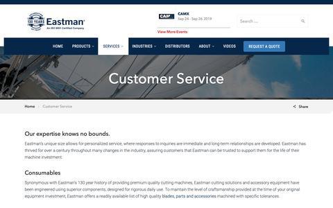 Screenshot of Support Page eastmancuts.com - Customer Service - Eastman Machine - captured June 24, 2019
