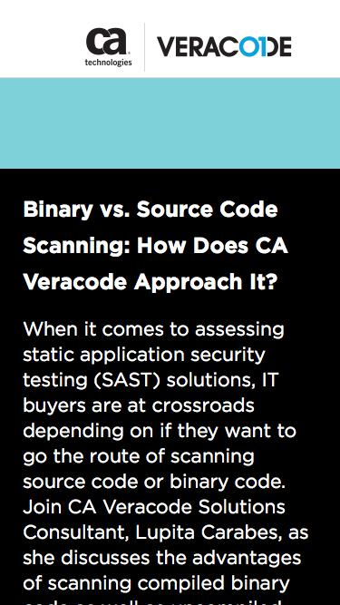 Binary vs. Source Code Scanning: How Does CA Veracode Approach It? | CA Veracode