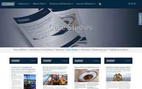 Screenshot of Case Studies Page oceaneering.com - Case Studies - Oceaneering - captured July 13, 2018