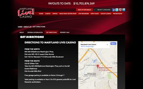 Screenshot of Maps & Directions Page marylandlivecasino.com - Maryland Live! Casino -  Get Directions - captured Sept. 23, 2014