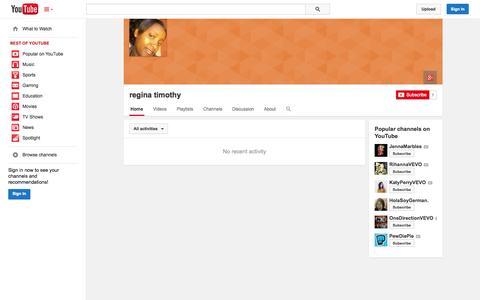 Screenshot of YouTube Page youtube.com - regina timothy  - YouTube - captured Nov. 3, 2014