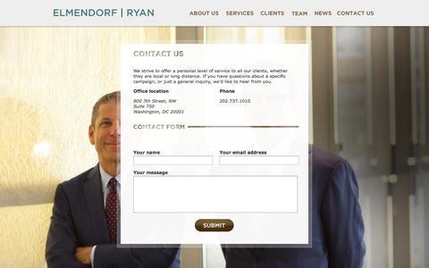 Screenshot of Contact Page elmendorfryan.com - Elmendorf | Ryan - Contact us - captured Sept. 29, 2014