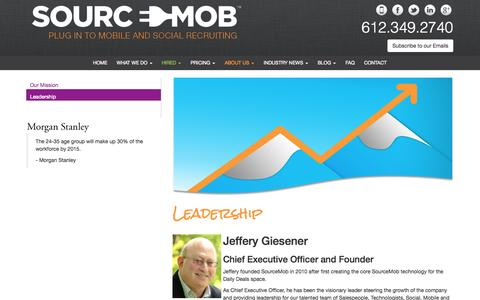 Screenshot of Team Page sourcemob.com - Leadership |  | SourceMobSourceMob - captured Oct. 9, 2014