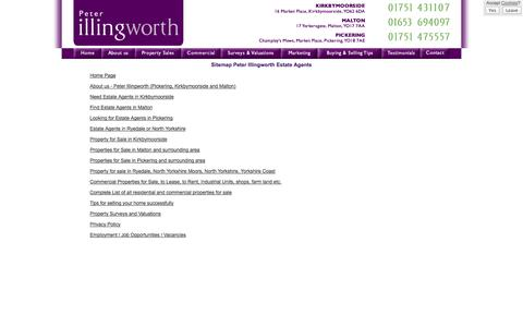 Screenshot of Site Map Page peterillingworth.co.uk - Sitemap - Peter Illingworth Estate Agents in Pickering, Kirkbymoorside and Malton, properties for sale in Ryedale and North Yorkshire Moors - captured Oct. 2, 2014