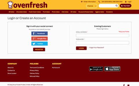Screenshot of Login Page oven-fresh.com - Customer Login - captured Nov. 11, 2017
