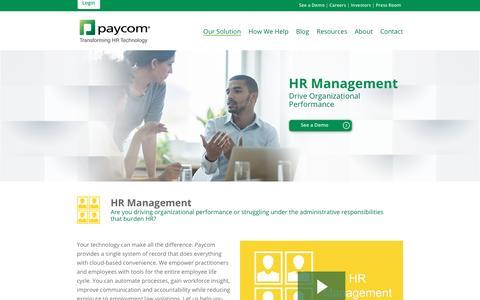 Paycom | Our Solution: HR Management