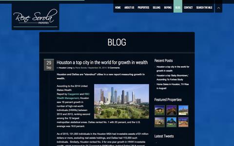 Screenshot of Blog renesorola.com - Blog | Rene Sorola Properties | Houston Luxury Real Estate Agency - captured Oct. 7, 2014