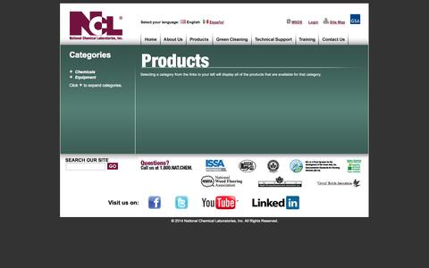 Screenshot of Products Page nclonline.com - National Chemical Laboratories, Inc. | Browse Categories - captured Oct. 27, 2014